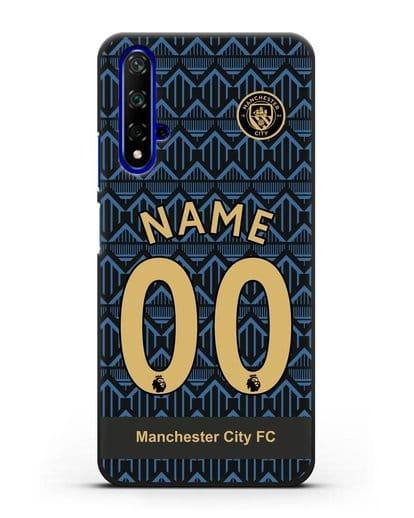 Именной чехол ФК Манчестер Сити с фамилией и номером (сезон 2020-2021) гостевая форма силикон черный для Honor 20