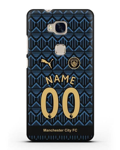 Именной чехол ФК Манчестер Сити с фамилией и номером (сезон 2020-2021) гостевая форма силикон черный для Honor 5X