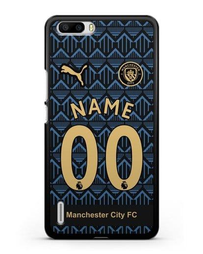 Именной чехол ФК Манчестер Сити с фамилией и номером (сезон 2020-2021) гостевая форма силикон черный для Honor 6 Plus