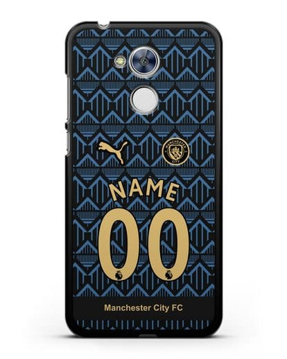Именной чехол ФК Манчестер Сити с фамилией и номером (сезон 2020-2021) гостевая форма силикон черный для Honor 6A