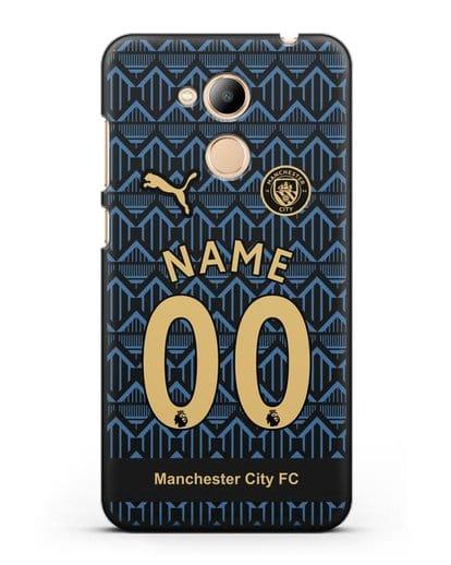 Именной чехол ФК Манчестер Сити с фамилией и номером (сезон 2020-2021) гостевая форма силикон черный для Honor 6C Pro