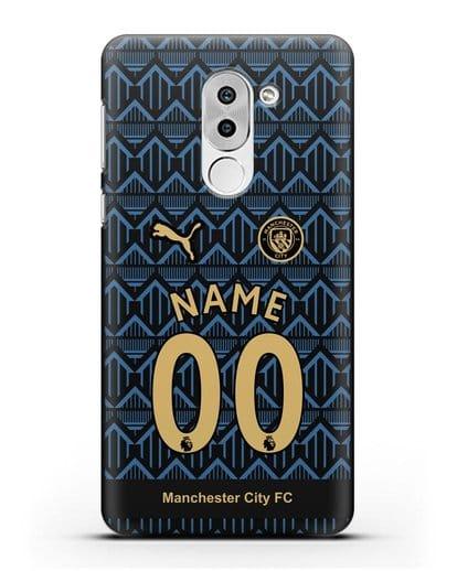 Именной чехол ФК Манчестер Сити с фамилией и номером (сезон 2020-2021) гостевая форма силикон черный для Honor 6X