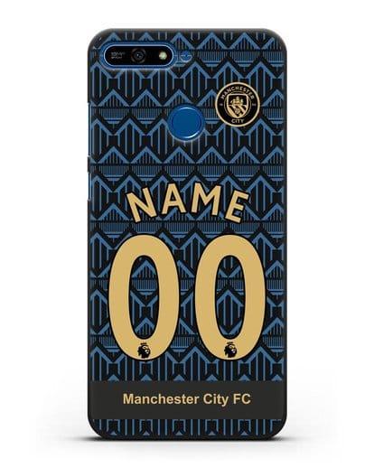 Именной чехол ФК Манчестер Сити с фамилией и номером (сезон 2020-2021) гостевая форма силикон черный для Honor 7А Pro