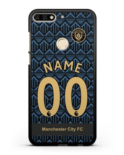 Именной чехол ФК Манчестер Сити с фамилией и номером (сезон 2020-2021) гостевая форма силикон черный для Honor 7C