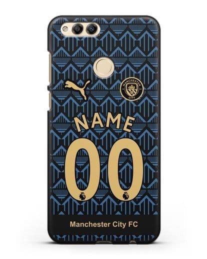 Именной чехол ФК Манчестер Сити с фамилией и номером (сезон 2020-2021) гостевая форма силикон черный для Honor 7X