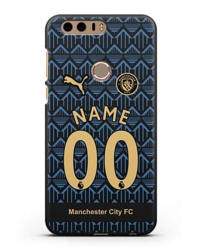 Именной чехол ФК Манчестер Сити с фамилией и номером (сезон 2020-2021) гостевая форма силикон черный для Honor 8