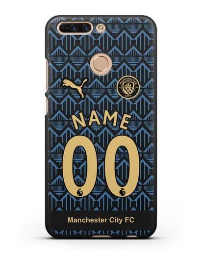 Именной чехол ФК Манчестер Сити с фамилией и номером (сезон 2020-2021) гостевая форма силикон черный для Honor 8 Pro