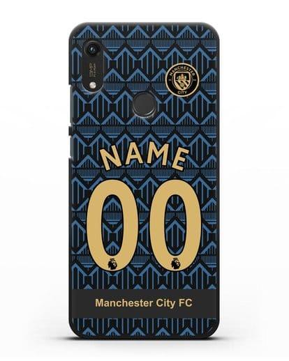 Именной чехол ФК Манчестер Сити с фамилией и номером (сезон 2020-2021) гостевая форма силикон черный для Honor 8A Prime