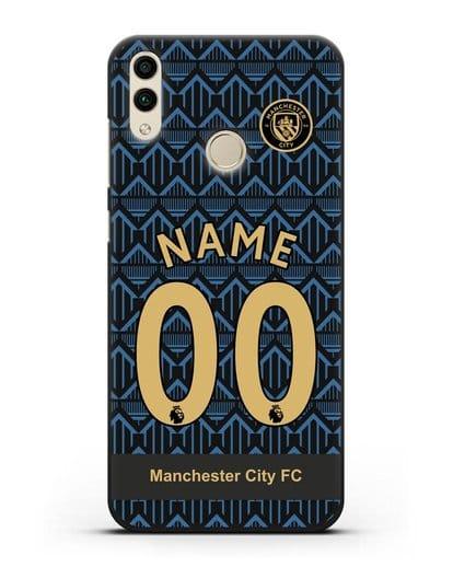 Именной чехол ФК Манчестер Сити с фамилией и номером (сезон 2020-2021) гостевая форма силикон черный для Honor 8C