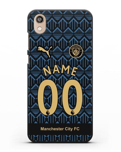 Именной чехол ФК Манчестер Сити с фамилией и номером (сезон 2020-2021) гостевая форма силикон черный для Honor 8S