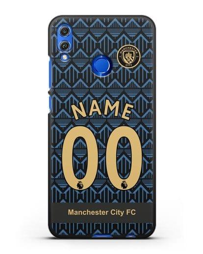 Именной чехол ФК Манчестер Сити с фамилией и номером (сезон 2020-2021) гостевая форма силикон черный для Honor 8X