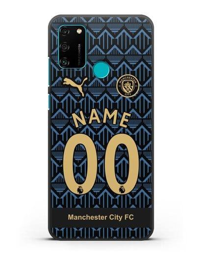 Именной чехол ФК Манчестер Сити с фамилией и номером (сезон 2020-2021) гостевая форма силикон черный для Honor 9A