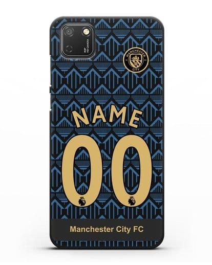 Именной чехол ФК Манчестер Сити с фамилией и номером (сезон 2020-2021) гостевая форма силикон черный для Honor 9S