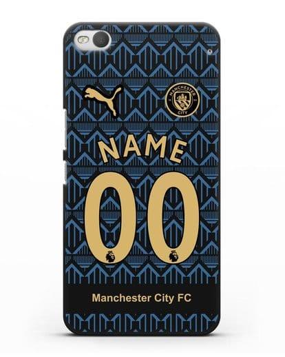 Именной чехол ФК Манчестер Сити с фамилией и номером (сезон 2020-2021) гостевая форма силикон черный для HTC One X9