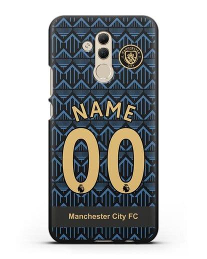Именной чехол ФК Манчестер Сити с фамилией и номером (сезон 2020-2021) гостевая форма силикон черный для Huawei Mate 20 Lite