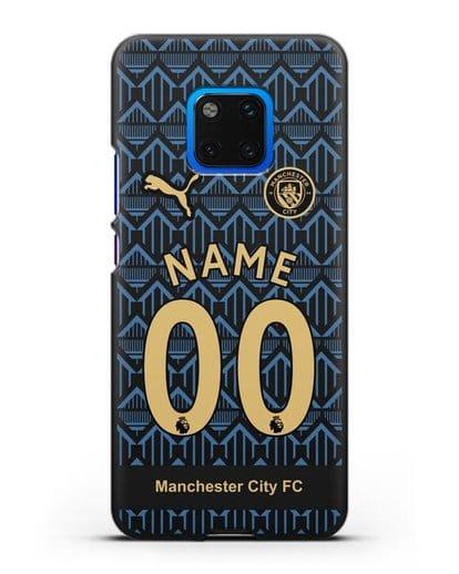 Именной чехол ФК Манчестер Сити с фамилией и номером (сезон 2020-2021) гостевая форма силикон черный для Huawei Mate 20 Pro