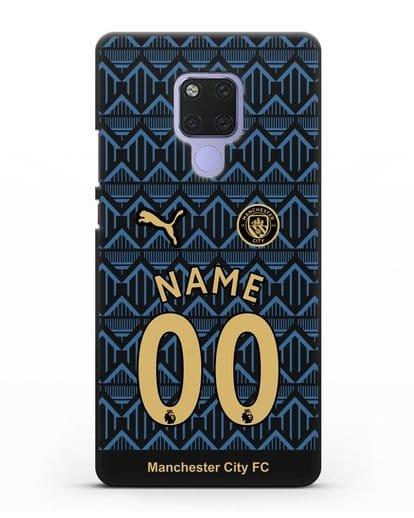 Именной чехол ФК Манчестер Сити с фамилией и номером (сезон 2020-2021) гостевая форма силикон черный для Huawei Mate 20X