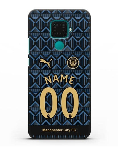 Именной чехол ФК Манчестер Сити с фамилией и номером (сезон 2020-2021) гостевая форма силикон черный для Huawei Mate 30 Lite