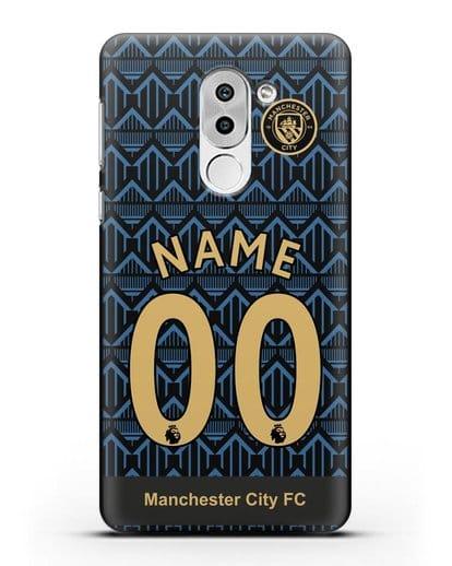 Именной чехол ФК Манчестер Сити с фамилией и номером (сезон 2020-2021) гостевая форма силикон черный для Huawei Mate 9 Lite