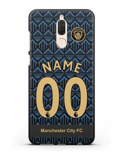 Именной чехол ФК Манчестер Сити с фамилией и номером (сезон 2020-2021) гостевая форма силикон черный для Huawei Nova 2