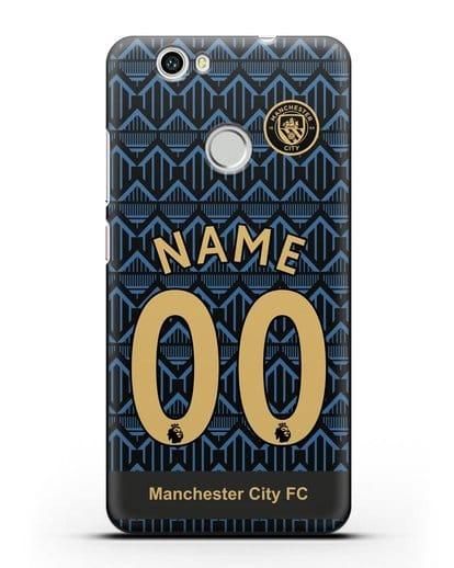 Именной чехол ФК Манчестер Сити с фамилией и номером (сезон 2020-2021) гостевая форма силикон черный для Huawei Nova