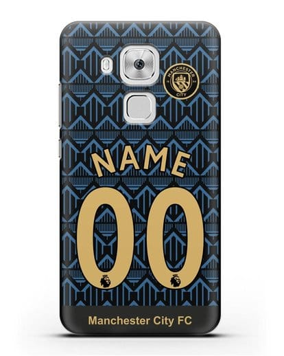 Именной чехол ФК Манчестер Сити с фамилией и номером (сезон 2020-2021) гостевая форма силикон черный для Huawei Nova Plus