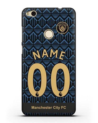 Именной чехол ФК Манчестер Сити с фамилией и номером (сезон 2020-2021) гостевая форма силикон черный для Huawei P8 Lite 2017