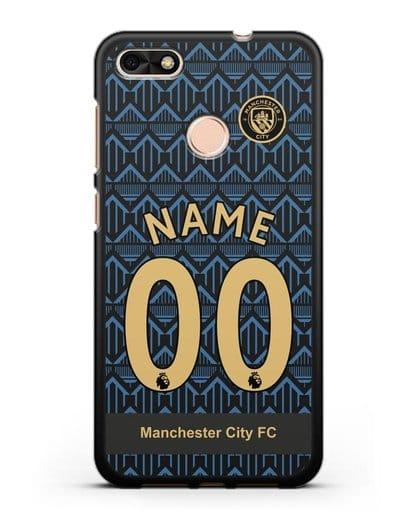 Именной чехол ФК Манчестер Сити с фамилией и номером (сезон 2020-2021) гостевая форма силикон черный для Huawei P9 Lite mini