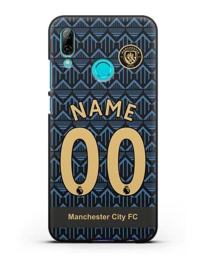 Именной чехол ФК Манчестер Сити с фамилией и номером (сезон 2020-2021) гостевая форма силикон черный для Huawei P Smart 2019