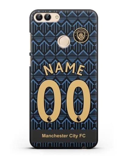 Именной чехол ФК Манчестер Сити с фамилией и номером (сезон 2020-2021) гостевая форма силикон черный для Huawei P Smart