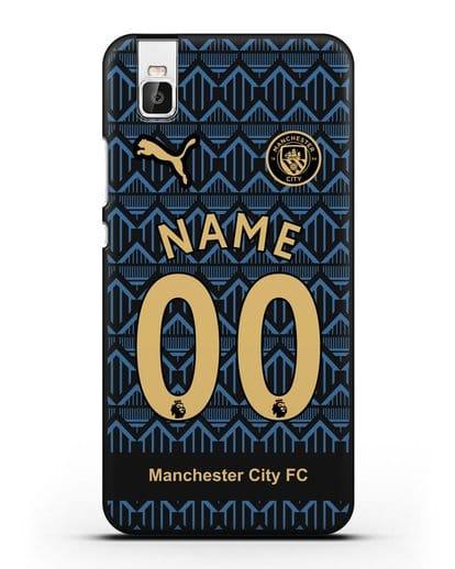 Именной чехол ФК Манчестер Сити с фамилией и номером (сезон 2020-2021) гостевая форма силикон черный для Huawei Shot X