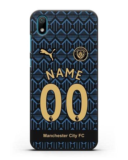 Именной чехол ФК Манчестер Сити с фамилией и номером (сезон 2020-2021) гостевая форма силикон черный для Huawei Y5 2019