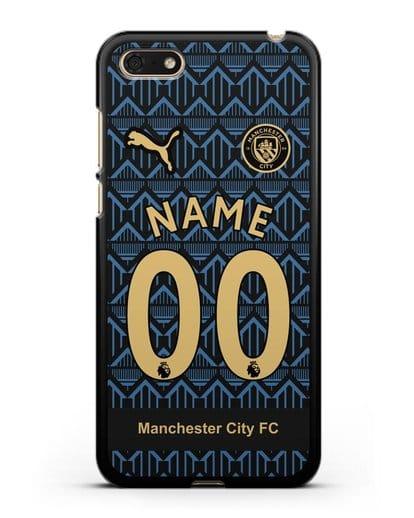 Именной чехол ФК Манчестер Сити с фамилией и номером (сезон 2020-2021) гостевая форма силикон черный для Huawei Y5 Prime 2018