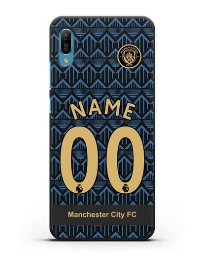 Именной чехол ФК Манчестер Сити с фамилией и номером (сезон 2020-2021) гостевая форма силикон черный для Huawei Y6 2019