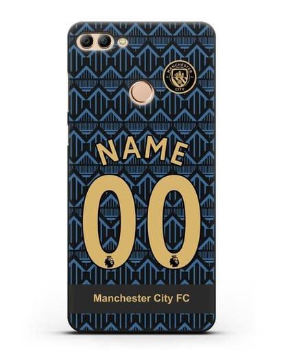 Именной чехол ФК Манчестер Сити с фамилией и номером (сезон 2020-2021) гостевая форма силикон черный для Huawei Y9 2018