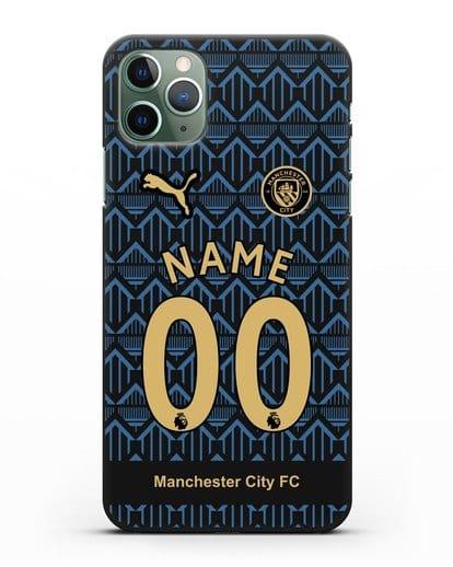 Именной чехол ФК Манчестер Сити с фамилией и номером (сезон 2020-2021) гостевая форма силикон черный для iPhone 11 Pro Max