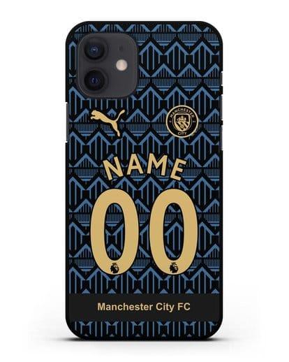 Именной чехол ФК Манчестер Сити с фамилией и номером (сезон 2020-2021) гостевая форма силикон черный для iPhone 12