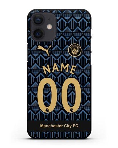 Именной чехол ФК Манчестер Сити с фамилией и номером (сезон 2020-2021) гостевая форма силикон черный для iPhone 12 mini