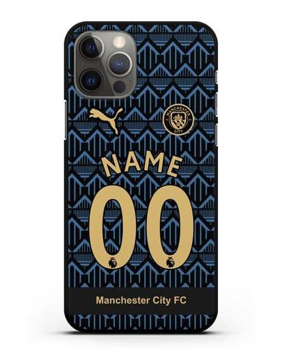 Именной чехол ФК Манчестер Сити с фамилией и номером (сезон 2020-2021) гостевая форма силикон черный для iPhone 12 Pro