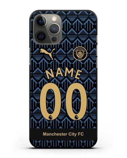 Именной чехол ФК Манчестер Сити с фамилией и номером (сезон 2020-2021) гостевая форма силикон черный для iPhone 12 Pro Max