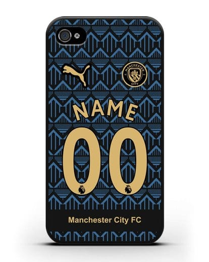 Именной чехол ФК Манчестер Сити с фамилией и номером (сезон 2020-2021) гостевая форма силикон черный для iPhone 4/4s