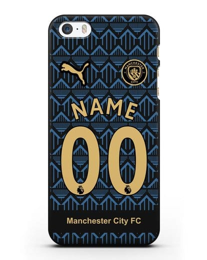 Именной чехол ФК Манчестер Сити с фамилией и номером (сезон 2020-2021) гостевая форма силикон черный для iPhone 5/5s/SE