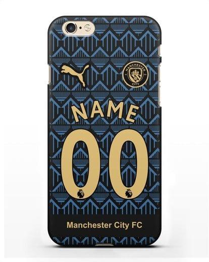 Именной чехол ФК Манчестер Сити с фамилией и номером (сезон 2020-2021) гостевая форма силикон черный для iPhone 6s