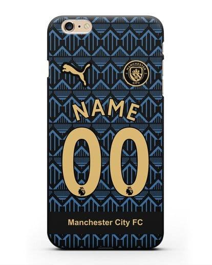 Именной чехол ФК Манчестер Сити с фамилией и номером (сезон 2020-2021) гостевая форма силикон черный для iPhone 6s Plus