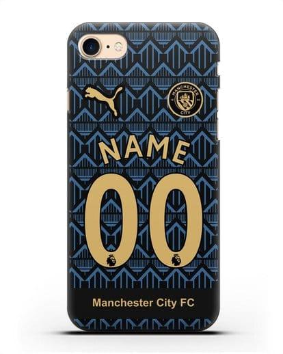 Именной чехол ФК Манчестер Сити с фамилией и номером (сезон 2020-2021) гостевая форма силикон черный для iPhone 7