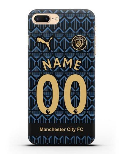 Именной чехол ФК Манчестер Сити с фамилией и номером (сезон 2020-2021) гостевая форма силикон черный для iPhone 7 Plus