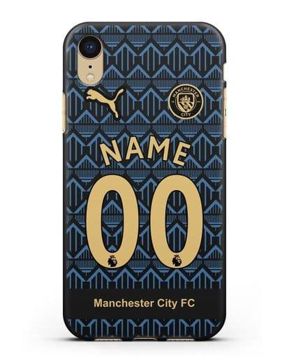 Именной чехол ФК Манчестер Сити с фамилией и номером (сезон 2020-2021) гостевая форма силикон черный для iPhone XR