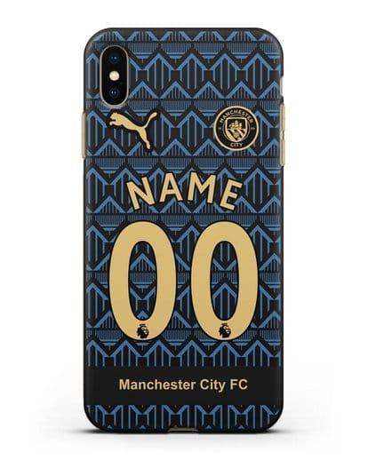 Именной чехол ФК Манчестер Сити с фамилией и номером (сезон 2020-2021) гостевая форма силикон черный для iPhone XS Max