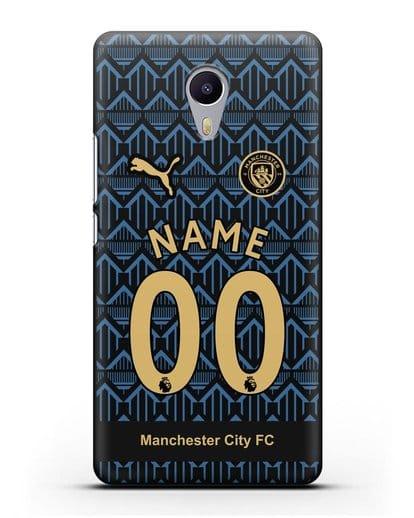 Именной чехол ФК Манчестер Сити с фамилией и номером (сезон 2020-2021) гостевая форма силикон черный для MEIZU M3 Note