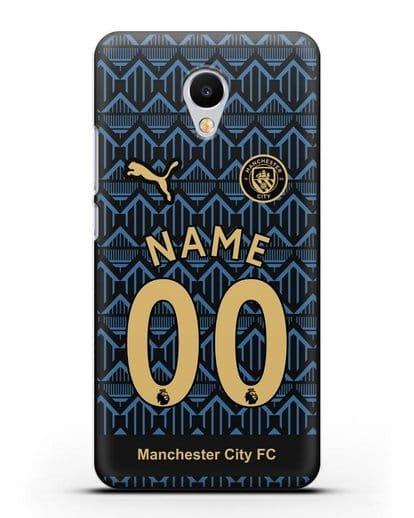 Именной чехол ФК Манчестер Сити с фамилией и номером (сезон 2020-2021) гостевая форма силикон черный для MEIZU M3s mini